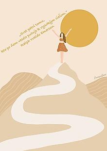 """Grafika - Ilustrácia """"Svet patrí tomu, kto po ňom veselo putuje k vysokým cieľom"""" - 13702513_"""