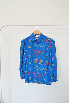 Košele - Viskózová blúzka v modrej s kvetmi a okrúhlym golierikom - 13703248_