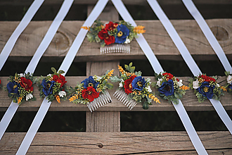 Ozdoby do vlasov - Folk svadobný set pre družičky (hrebienky a náramky) - 13706354_