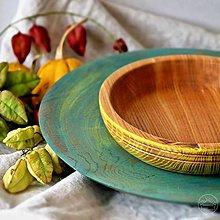 Nádoby - Set drevenej misky a podnosu - 13703837_