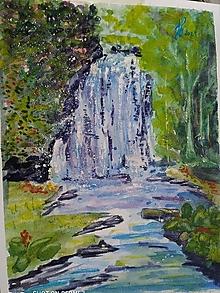 Obrazy - pod vodopádom, akv.,A4 - 13703872_