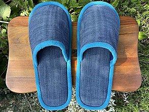 Ponožky, pančuchy, obuv - Modré denim papuče - 13704292_