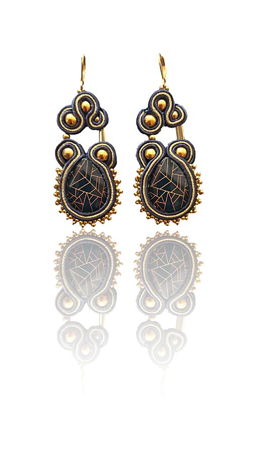 Principessa della notte handmade soutache náušnice - autorské šperky LEKIDA