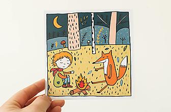 """Papier - Pohľadnica """"jeseň s lišiakom"""" - 13706284_"""