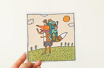 "Papier - Pohľadnica "" cestuj s lišiakom"" - 13706293_"