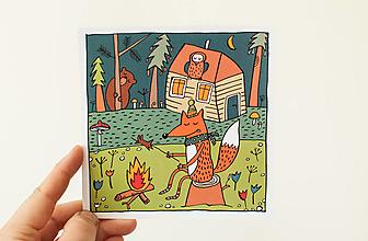 "Papier - Pohľadnica "" opekačka s lišiakom"" - 13706296_"