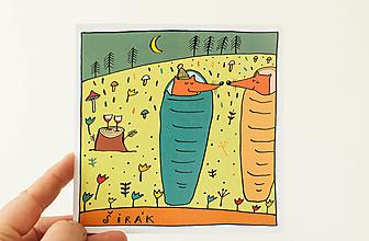 """Papier - Pohľadnica """" širák s lišiakom"""" - 13706301_"""