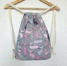 Detské tašky - Detský ruksak, batoh, vak ... mačičky veľ.M - 13706454_