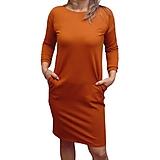 Šaty - Šaty s kapsami - barva rezavá (XL) - 13707173_