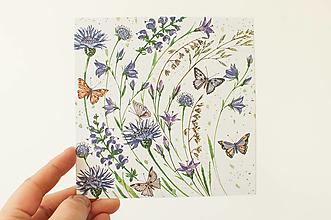 """Papier - Pohľadnica """"violet lúka"""" - 13706494_"""