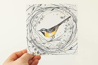 """Papier - Pohľadnica """"vtáčik"""" - 13706508_"""