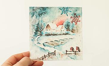 """Papier - Špeciálna kvitnúca pohľadnica """"zima"""" - 13706510_"""