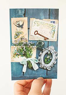 """Papier - Pohľadnica """" modré zátišie """" - 13707118_"""
