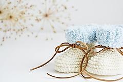 Topánočky - Papučky pre bábätko s plyšovým lemom II. (Prírodná/bledomodrá - dĺžka: 10 cm) - 13710176_