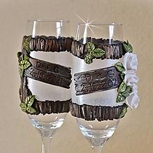 Nádoby - Spoločná cesta lesom Ruže - svadobné poháre, sada 2 ks s textom - 13710910_