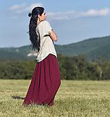 Sukne - Maxi sukně z vyšívaného mušelínu - Bordó - 13710556_
