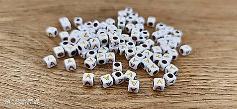 Korálky - Korálka písmenko - Bielo zlaté - 6x6 mm (A) - 13712755_