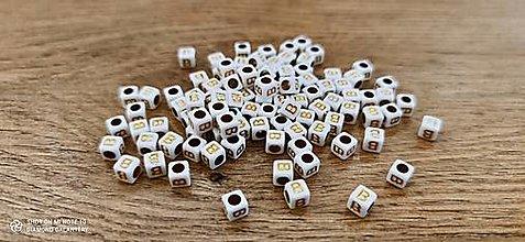 Korálky - Korálka písmenko - Bielo zlaté - 6x6 mm (B) - 13712757_