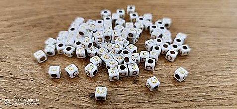 Korálky - Korálka písmenko - Bielo zlaté - 6x6 mm (C) - 13712758_