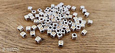 Korálky - Korálka písmenko - Bielo zlaté - 6x6 mm (D) - 13712759_