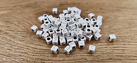 Korálky - Korálka písmenko - Bielo zlaté - 6x6 mm (E) - 13712761_