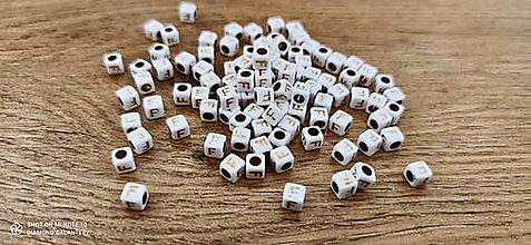 Korálky - Korálka písmenko - Bielo zlaté - 6x6 mm (F) - 13712762_