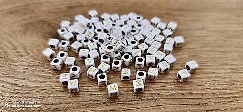 Korálky - Korálka písmenko - Bielo zlaté - 6x6 mm (M) - 13712770_