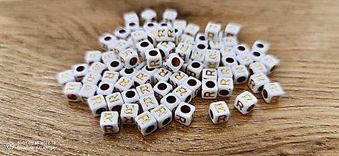 Korálky - Korálka písmenko - Bielo zlaté - 6x6 mm (R) - 13712776_
