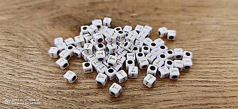 Korálky - Korálka písmenko - Bielo zlaté - 6x6 mm (T) - 13712778_
