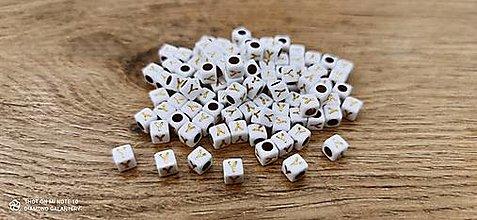 Korálky - Korálka písmenko - Bielo zlaté - 6x6 mm (Y) - 13712784_