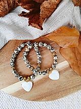 Náramky - Dalmatínsky Jaspis a srdiečko z morskej Perlete 🧡 - 13711526_