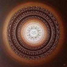 Obrazy - Mandala NEKONEČNÁ LÁSKA A ŠŤASTIE ♥ (white-brown) 70 x 70 - 13711504_