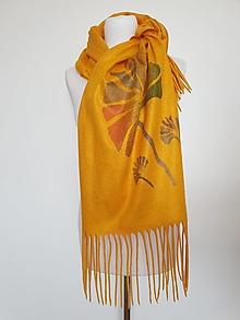 Šály - Šál žltý s Ginkgo listami - 13711827_