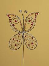 Dekorácie - Zápich motýľ - žlto-oranžovo-červený - 13713182_