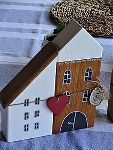 Dekorácie - Sada dvoch domčekov so srdiečkom - 13715279_