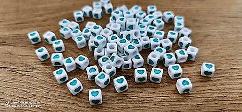 Korálky - Korálky srdiečka 6 x 6 (Tyrkysová) - 13715700_