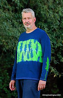 Tričká - Pánske tričko, batikované, maľované VŽDY ZELENÉ - 13714580_