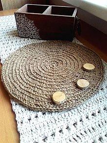 Úžitkový textil - Jutové vidiecke prestieranie okrúhle - 13714483_
