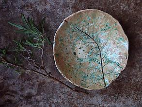 Nádoby - Keramická miska s papraďou zelená - 13719038_