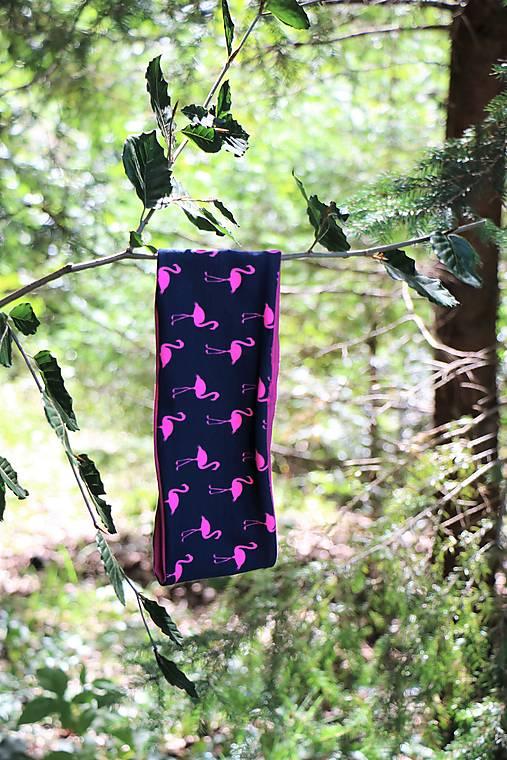 Úpletová čelenka plameniaky ružové