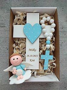 Dekorácie - Darček na krst  Set krížik a ruženec - 13719495_
