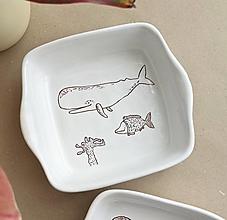 Nádoby - keramická miska štvorcová (jedna veľryba) - 13718669_