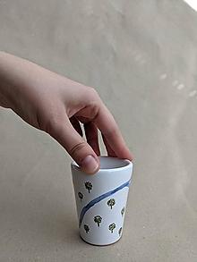 Nádoby - keramický pohár malý (rieka v sade) - 13718740_