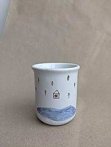 Nádoby - keramická šálka stredná (dom pri jazere) - 13718782_