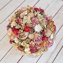 Dekorácie - Svadobná kytička z prírodných kvietkov ... jesenná s jabĺčkami ... - 13717889_