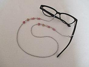 Iné šperky - Retiazka na okuliare - minerál - rodochrozit - chirurgická oceľ - 13718070_