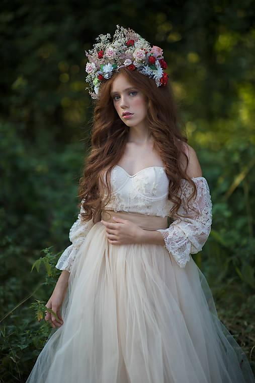 """Kvetinová boho korunka """"čas ruží"""""""