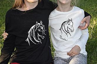 Tričká - tričko dlhý rukáv - koníky pre sestričky - 13718472_