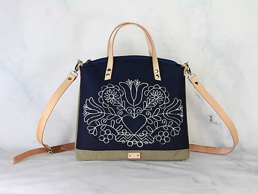 modrotlačová kabelka Nora natur AM 1