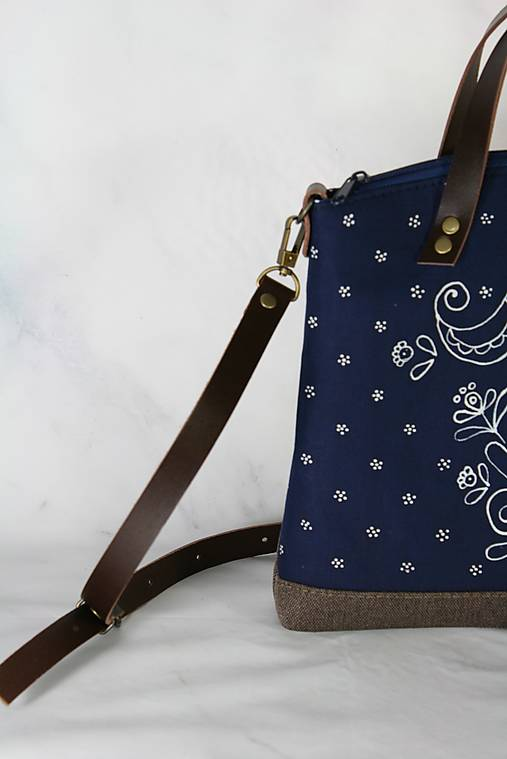 modrotlačová kabelka Nora hnedá AM 2